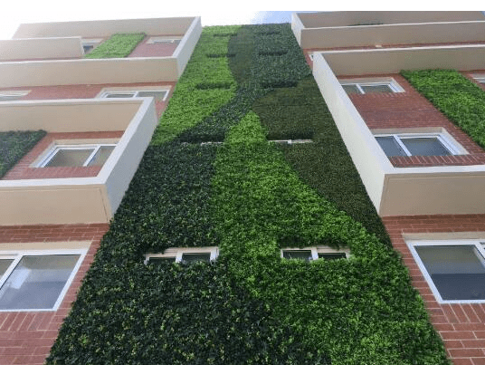 Artificial plant walls for external wall landscaping