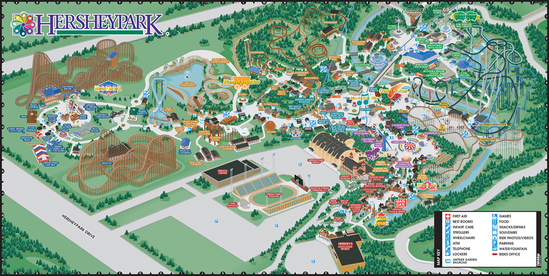 VistaMap gallery of trail map and resort guest wayfinding map     VistaMap amusement park maps  such as Hersheypark  are very complex   rendering the attractions