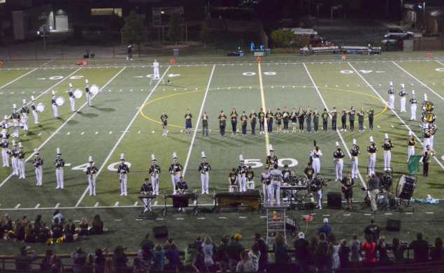 Mountain Vista band preforms during halftime.