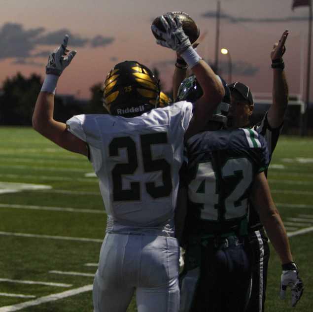 Tristen Dean celebrates after his 5 yard touchdown rush. Photo by Conner Davis