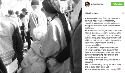 Actress and singer Ariana Grande walks with her grandma and mom