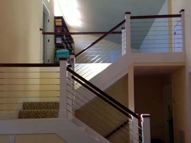 Cable Infill Vista Railings | Cable Stair Railing Indoor | Exterior Irregular Stair | Vertical | Wood | 90 Degree Stair | Stainless