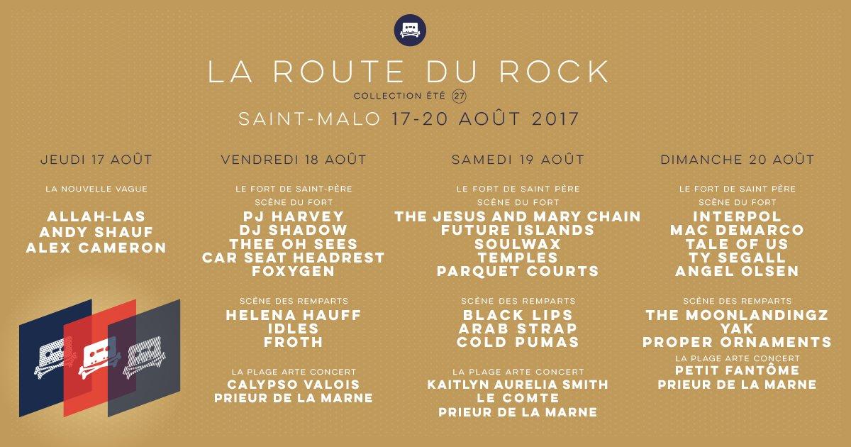 jours et lieux de passage artistes route du rock 2017