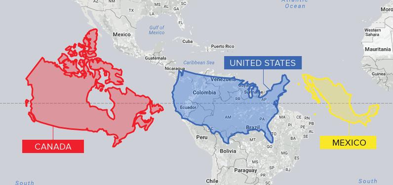 Canada, USA, Mexico Size Comparison Map