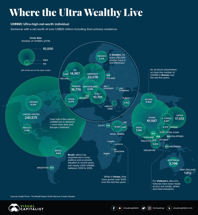 Mapped: The World's Ultra-Rich, by Country