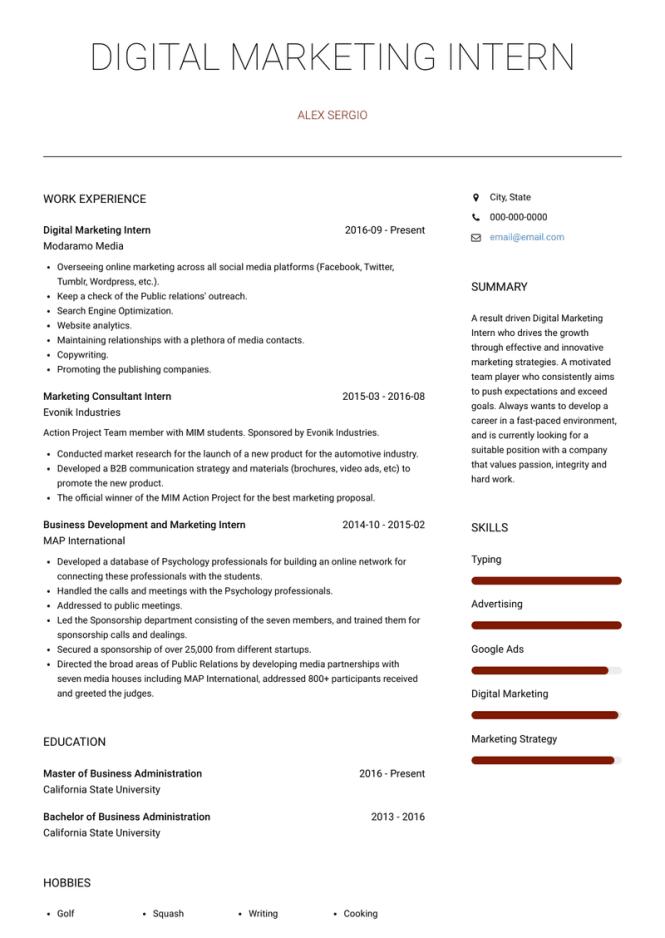 Digital Marketing Intern Resume