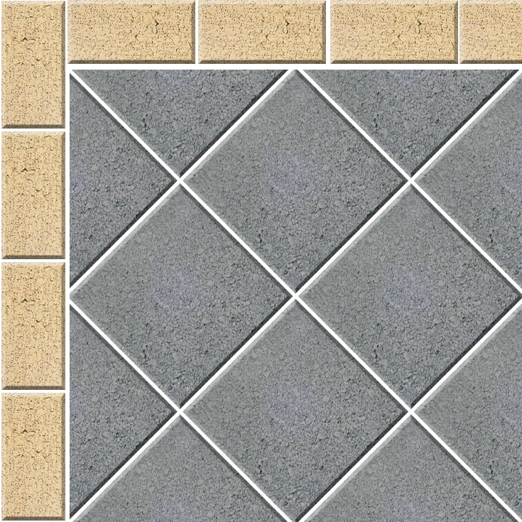 Stack Bond 45 Paving Pattern