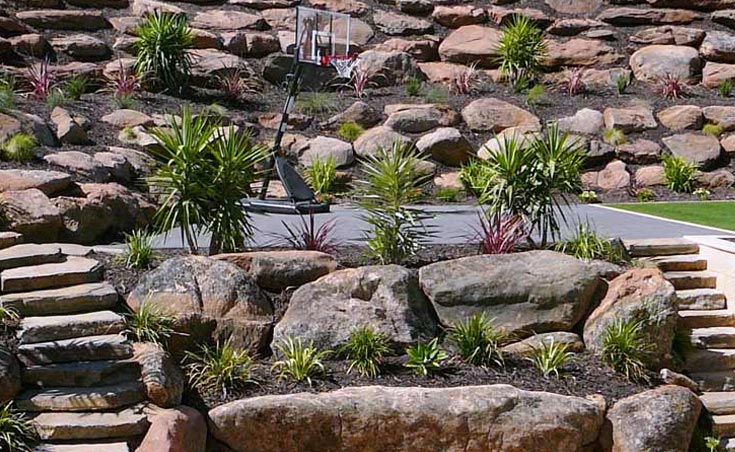Moss rock retaining walls