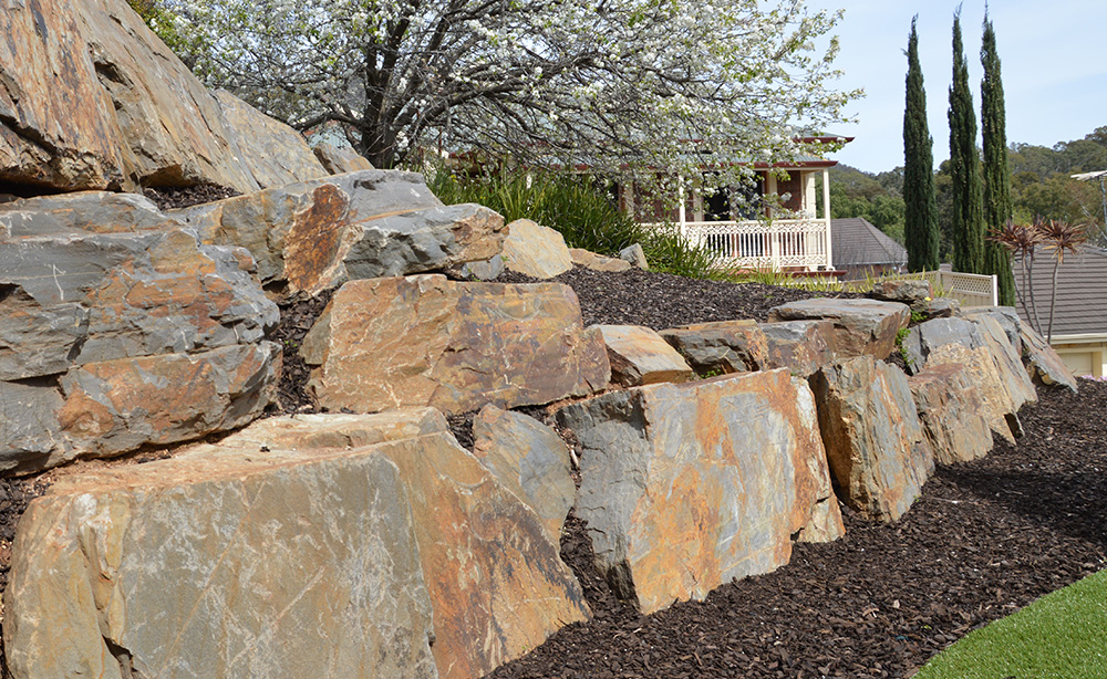 Bluestone Rock Retaining Walls | Visual Landscape Gardening