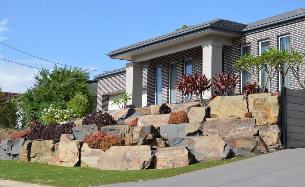 Front Garden Landscaping | Bluestone Rock Retaining Walls