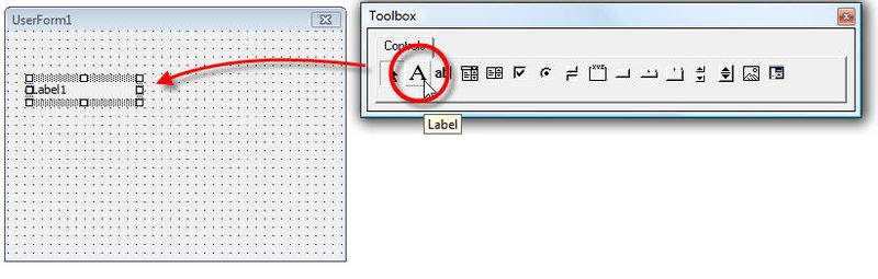Label in toolbar VBA