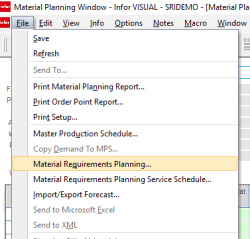 INfor VISUAL ERP MPW Menu