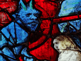 stained glass blue devil