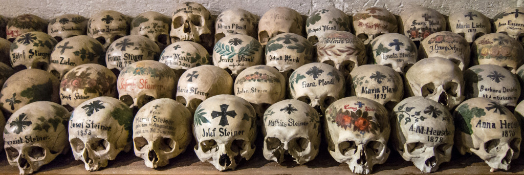Beinhaus with painted skulls, Hallstatt, Austria - Photo by Peter Szczesny