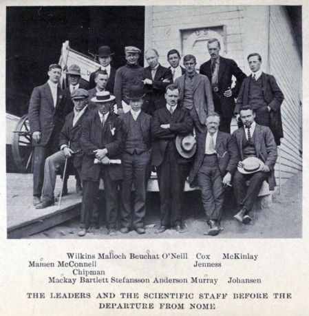 The scientific staff of the Karluk expedition. CC wikmedia.