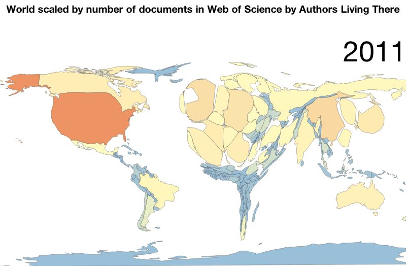 World scaled by number of documents by wuthors living there