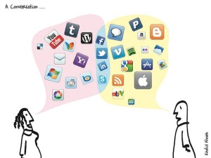 Drawing of two people talking, with speech bubbles containing logos of social media platforms