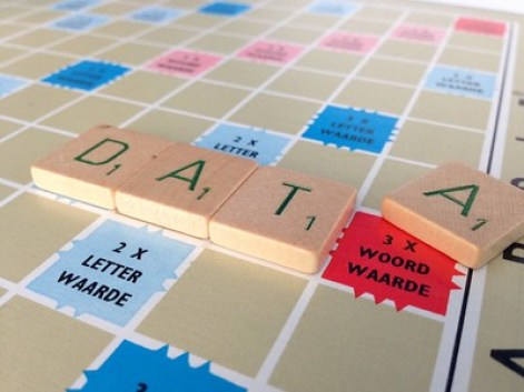 Scrabble board with the word DATA spelled out