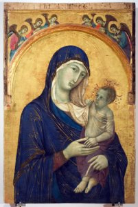 4-1Duccio di Buoninsegna Madonna col Bambino e sei angeli 1300-1310