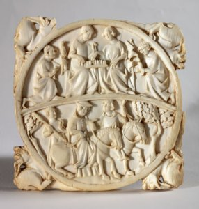 Manifattura di Parigi  Valva di custodia per specchio, due scene cortesi  1325-1350 ca.