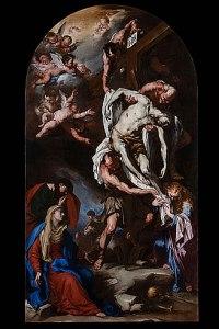 Luca Giordano deposizione di cristo dalla croce dopo restauro