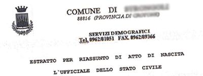 Esempio Certificato Stato Civile Comune di Sassari
