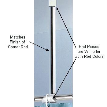 Corner Rods For Shower Curtains White Aluminum And Chrome Shower Curtain Corner Rods