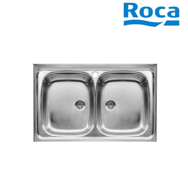 evier inox 2 bacs pour installation sur meuble de 500 mm roca a870420803