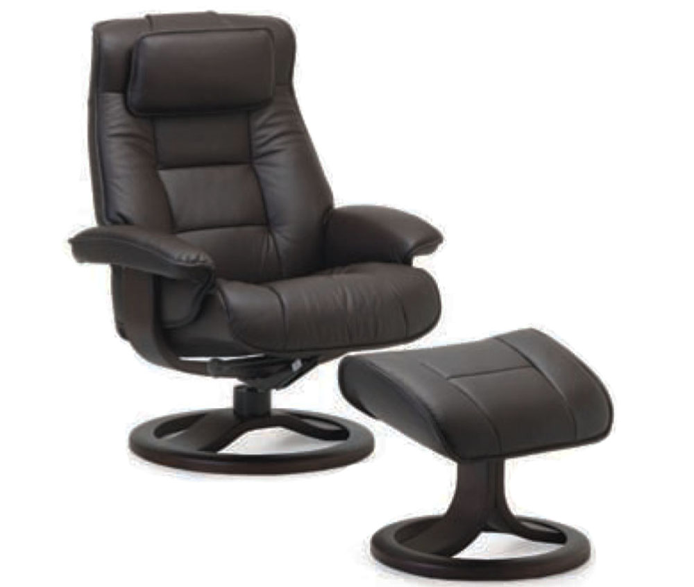 Fjords Mustang Ergonomic Leather Recliner Chair Ottoman