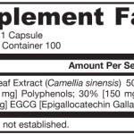 Jarrow Formulas Green Tea 500mg ingredients