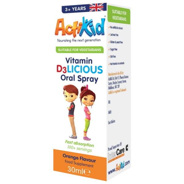 Actikid Vitamin D3LICIOUS Oral Spray x 30ml