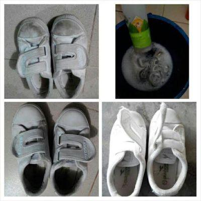 cuci kasut sekolah dengan basic H 4