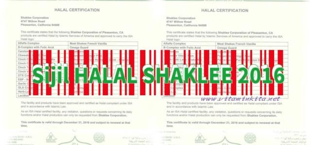 Sijil Halal Shaklee 2016