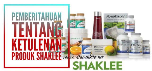 Pemberitahuan Tentang Ketulenan Produk Shaklee