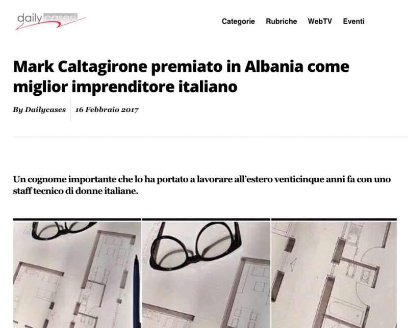 Mark Caltagirone premiato in Albania