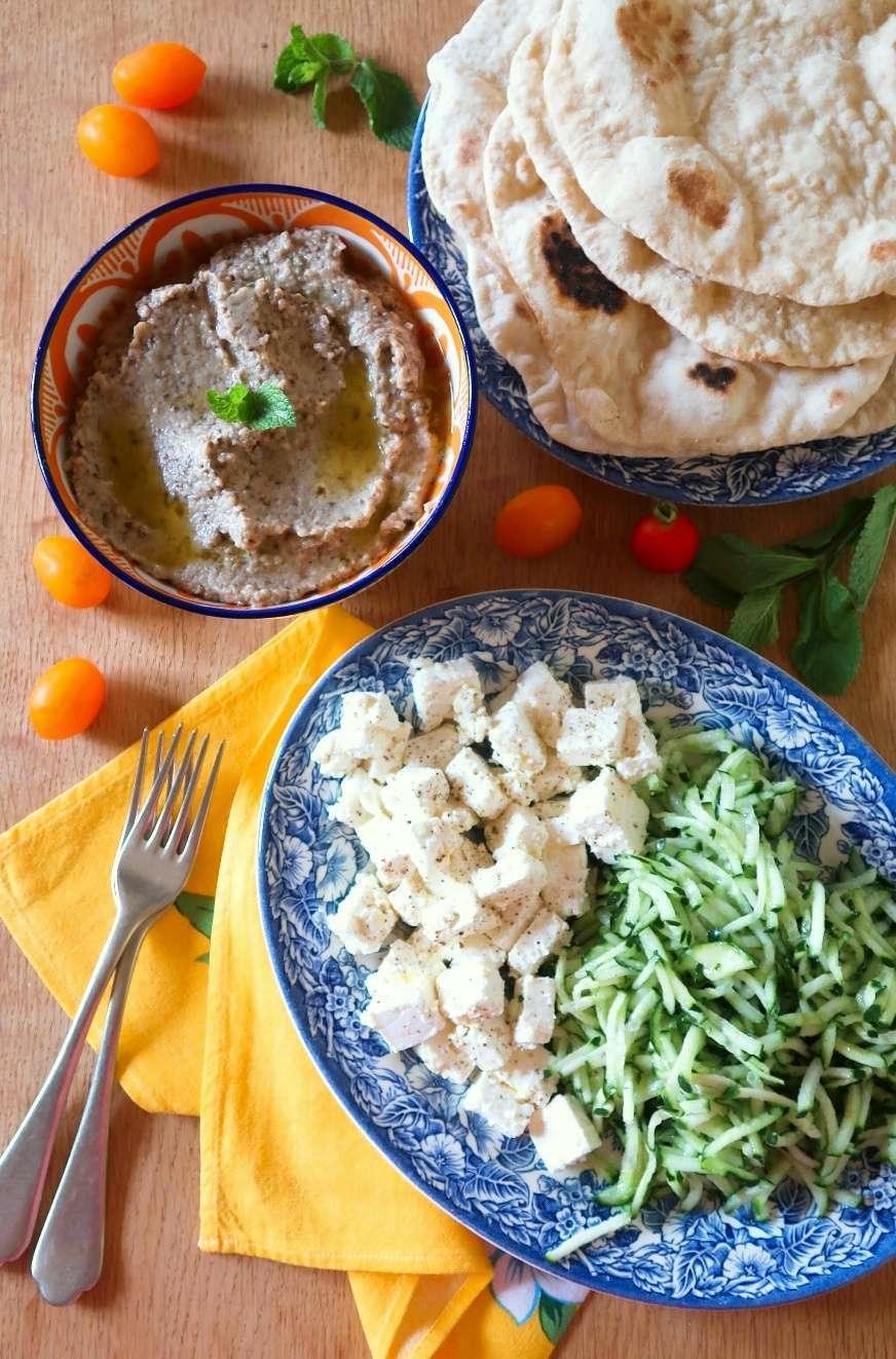 melitzanosalata, pita, feta, cetrioli