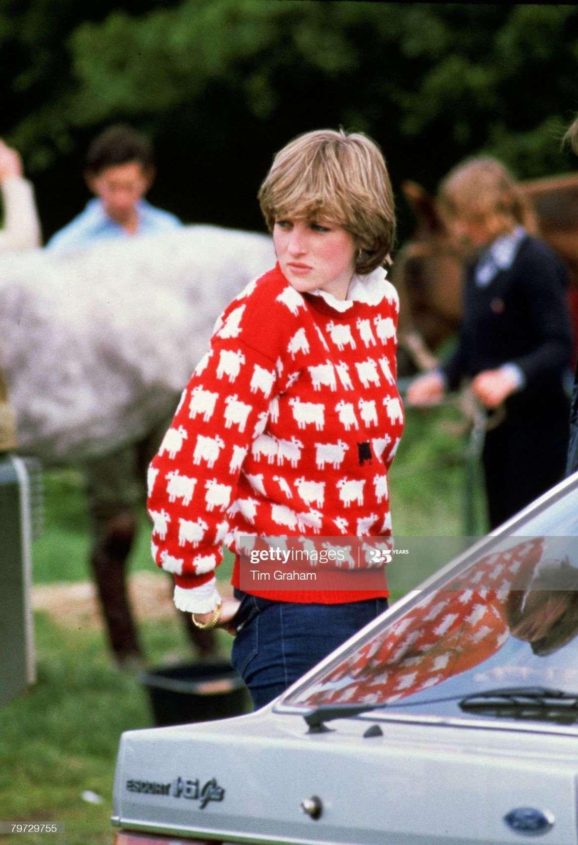 maglione con le pecore lady diana 1980