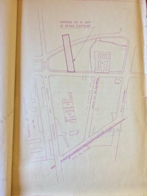 Primera localización de la factoría Areitio en Judimendi (Archivo Municipal de Vitoria-Gasteiz)