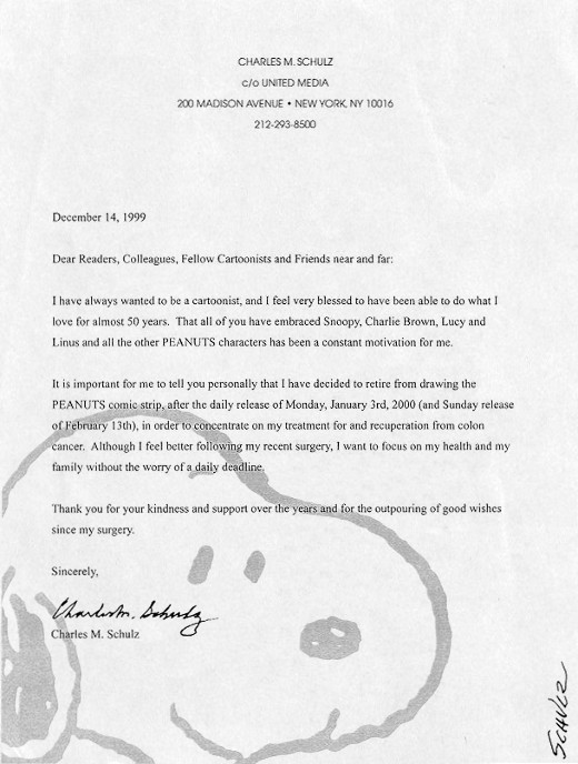 Sincerely, Charles M. Schulz