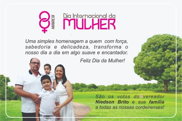 Vereador de São José dos Cordeiros publica mensagem no Dia Internacional da Mulher