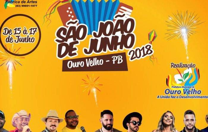 Ouro Velho anuncia atrações do São João de Junho realizado nos dias 15, 16 e 17