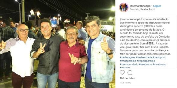 PR oficializa apoio a Zé Maranhão e garante Bruno Roberto na vice