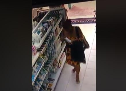 Câmeras de segurança flagram mulher furtando produtos de farmácia em Sumé