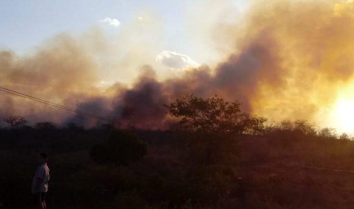 Moradores de Barra de São Miguel tentam apagar incêndio em terreno próximo a cidade