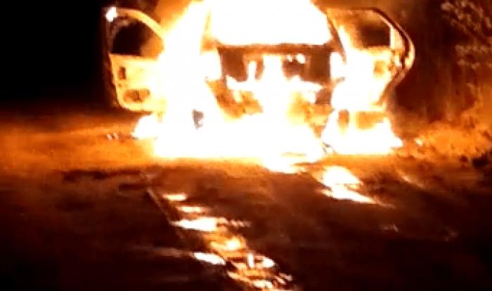 Carro locado por Prefeitura do Cariri pega fogo quando transportava pacientes