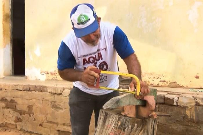 Agricultor caririzeiro usa madeira umburana para esculpir ferramentas em miniaturas