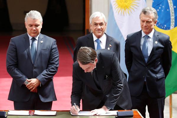 Bolsonaro participa no Chile de reunião para criar o Prosul