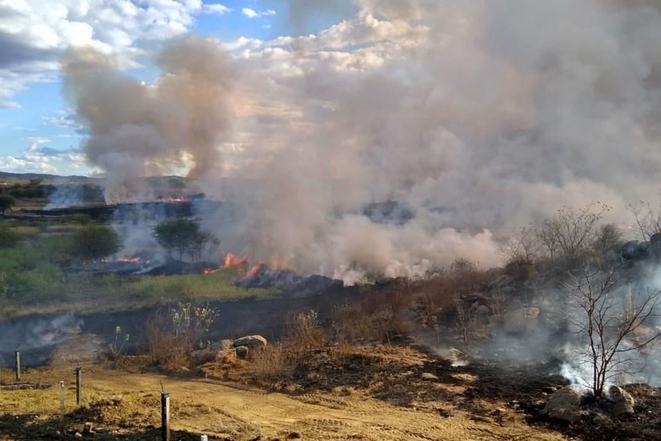 Corpo de Bombeiros atua contra incêndio que atingiu zona rural de Monteiro, no Cariri
