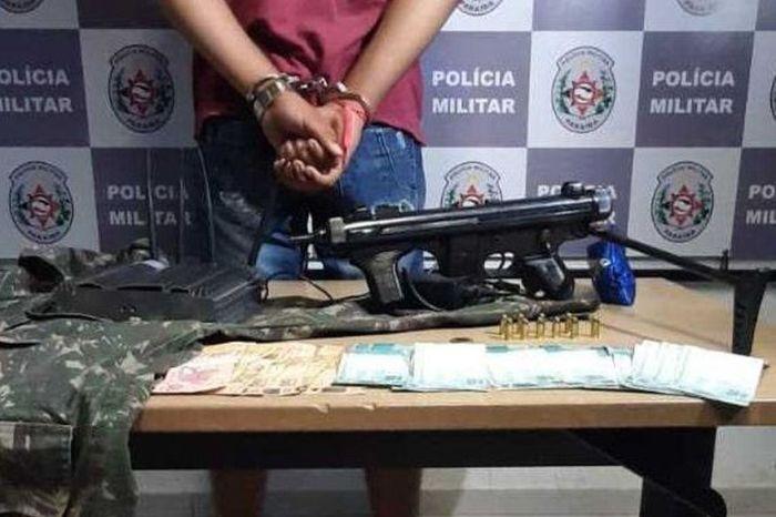 PM prende suspeito e apreende submetralhadora, munições e dinheiro