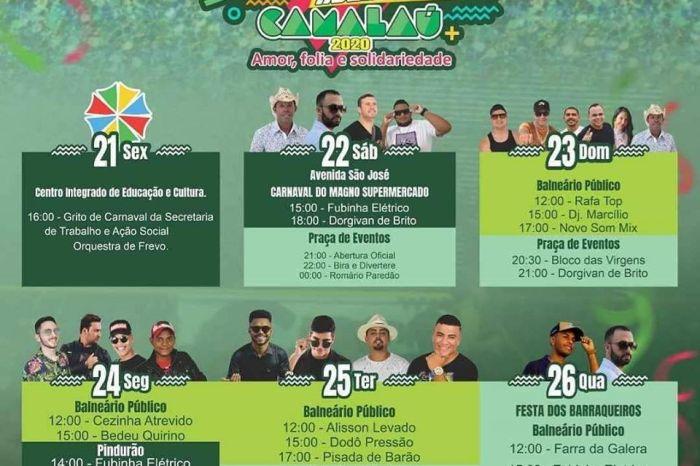 Divulgada programação musical do Carnaval 2020 de Camalaú